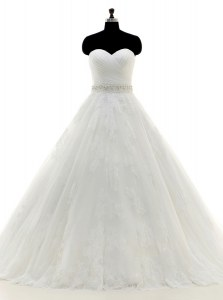 White Sweetheart Neckline Beading and Lace and Appliques Bridal Gown Sleeveless Clasp Handle