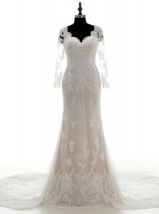 Sumptuous White Clasp Handle Bridal Gown Lace and Appliques 3 4 Length Sleeve With Train Court Train
