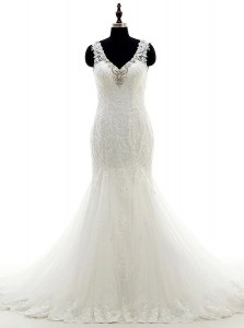 Vintage White Mermaid Beading Bridal Gown Backless Tulle and Lace Sleeveless