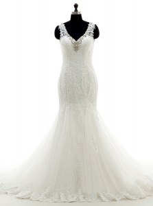 Fashionable Mermaid White Sleeveless Beading and Lace and Appliques With Train Wedding Gowns