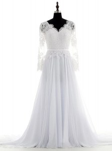 On Sale White Empire Chiffon V-neck Long Sleeves Lace With Train Backless Wedding Dress Brush Train