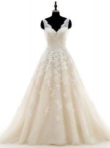 Designer Champagne Clasp Handle Wedding Gown Lace and Appliques Sleeveless With Brush Train