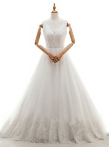 White Sleeveless With Train Lace and Appliques Zipper Wedding Dress