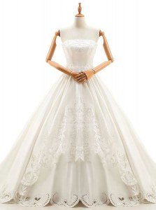 With Train Lace Up Wedding Dresses White for Wedding Party with Appliques Cathedral Train