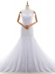 Mermaid White Spaghetti Straps Backless Lace Wedding Gowns Brush Train Sleeveless