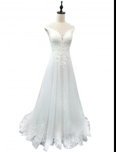 Custom Fit White Wedding Gowns Wedding Party and For with Lace Scoop Sleeveless Brush Train Clasp Handle