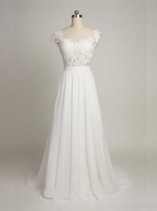 Gorgeous Scoop With Train White Wedding Gown Tulle Sleeveless Lace