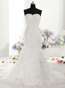 Fine Mermaid White Sleeveless With Train Lace Lace Up Wedding Gown