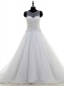 Scoop White Organza Zipper Wedding Dress Sleeveless With Train Sweep Train Beading
