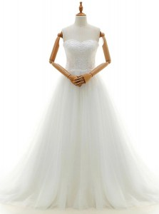 Latest Sweetheart Sleeveless Tulle Wedding Gowns Lace Brush Train Clasp Handle