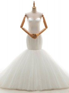 Decent Mermaid Sleeveless With Train Ruching Lace Up Wedding Gowns with White Brush Train