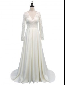 Long Sleeves Satin With Brush Train Clasp Handle Wedding Gown in White with Lace