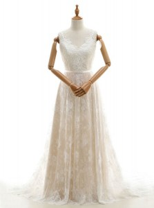 High End Champagne Lace Zipper Wedding Dresses Sleeveless With Train Chapel Train Lace