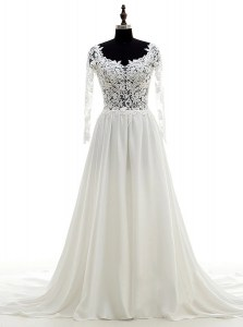 Fancy Scoop With Train Column/Sheath Long Sleeves White Wedding Gowns Brush Train Backless