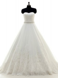 Eye-catching White Sweetheart Neckline Beading and Lace Wedding Gown Sleeveless Lace Up