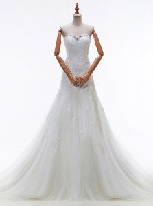 Customized Sleeveless Court Train Beading and Lace and Appliques Lace Up Bridal Gown