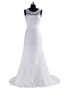 Fine Scoop Scalloped Sleeveless Brush Train Backless Wedding Dresses White Lace
