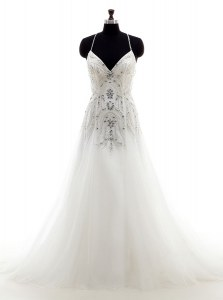 Beading Bridal Gown White Criss Cross Sleeveless With Brush Train