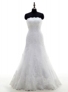 Dramatic Floor Length White Wedding Gown Lace Sleeveless Lace