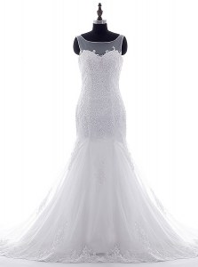 Noble Mermaid Scoop White Lace Up Wedding Dress Lace and Appliques Sleeveless With Brush Train