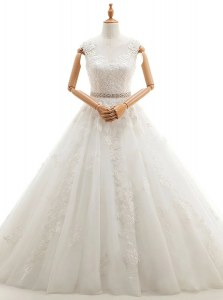 Charming Scoop Sleeveless Brush Train Clasp Handle Wedding Dress White Tulle