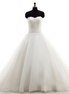 White Sleeveless Organza Brush Train Clasp Handle Wedding Gowns for Wedding Party
