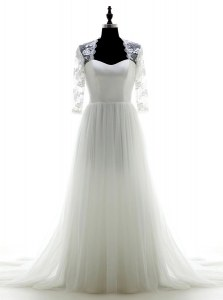 Edgy White 3 4 Length Sleeve Tulle Brush Train Zipper Bridal Gown for Wedding Party