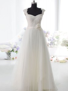 High Quality Lace and Hand Made Flower Wedding Gown White Side Zipper Sleeveless Floor Length