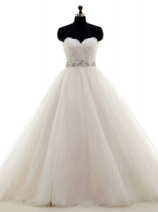 Enchanting Tulle Sweetheart Sleeveless Brush Train Lace Up Beading and Lace Wedding Gowns in White