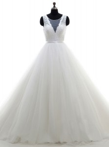 Scoop Sleeveless Tulle With Brush Train Clasp Handle Bridal Gown in White with Lace