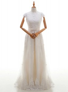 Charming White Empire Tulle Scoop Cap Sleeves Lace and Appliques With Train Zipper Wedding Gowns Brush Train