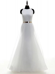 Scoop White Sleeveless Ruching and Belt Floor Length Bridal Gown