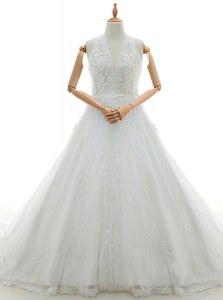 Spectacular V-neck Sleeveless Watteau Train Lace Up Bridal Gown White Lace
