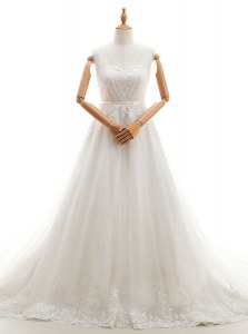 Modern With Train Clasp Handle Wedding Gown White for Wedding Party with Appliques Court Train