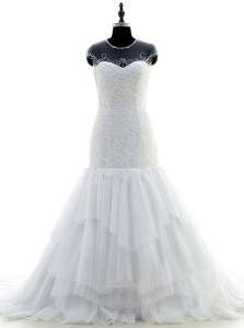 Simple Scoop White Chiffon and Lace Zipper Wedding Gown Short Sleeves With Brush Train Beading and Lace