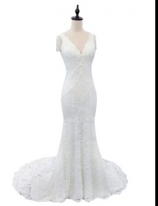 White Mermaid Lace V-neck Cap Sleeves Lace With Train Zipper Wedding Gown Brush Train