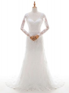 Fashion With Train Lace Up Wedding Gown White for Wedding Party with Lace and Appliques Brush Train
