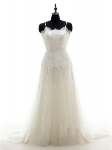 Pretty Sleeveless Brush Train Zipper With Train Lace Bridal Gown