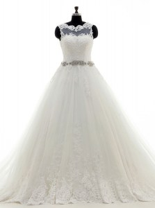 Scalloped Sleeveless Brush Train Clasp Handle Wedding Dresses White Tulle
