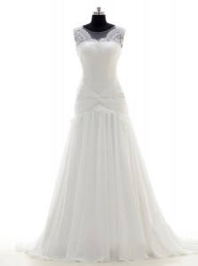 Scoop Sleeveless Brush Train Lace Side Zipper Wedding Dresses