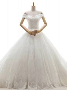 Off the Shoulder With Train White Wedding Gowns Tulle Court Train Sleeveless Lace and Appliques