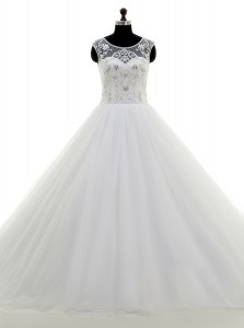 Scoop White Clasp Handle Wedding Dress Beading Sleeveless With Brush Train