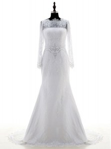 Long Sleeves Lace With Brush Train Zipper Wedding Gown in White with Appliques