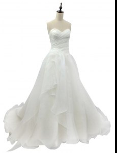 Sweetheart Sleeveless Organza Bridal Gown Ruching Brush Train Zipper