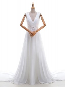 Comfortable White Sleeveless Brush Train Appliques With Train Wedding Gowns