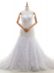 Scoop Lace Sleeveless With Train Wedding Dresses Court Train and Lace and Ruching