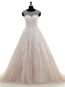 Clearance Scoop With Train Peach Wedding Dresses Tulle Brush Train Cap Sleeves Lace and Appliques
