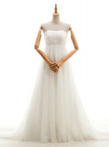 Custom Fit White Empire Tulle Strapless Sleeveless Lace With Train Zipper Wedding Gown Court Train