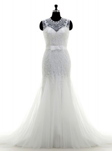Mermaid Scoop Sleeveless Brush Train Zipper Wedding Gown White Tulle