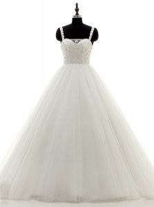 Modest Floor Length White Wedding Gown Tulle and Lace Sleeveless Beading